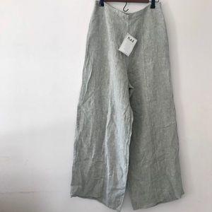 Flax High Waist Linen Wide Leg Pants Sage Green M